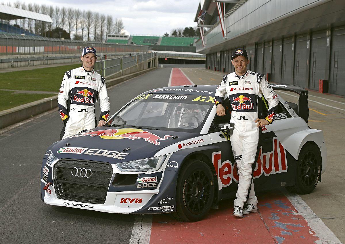 Top-Fahrerpaarung und schnelles Auto: Andreas Bakkerud, Mattias Ekström und der neue Audi S1 EKS RX quattro. Bild: Ferdi Kräling Motorsport-Bild GmbH